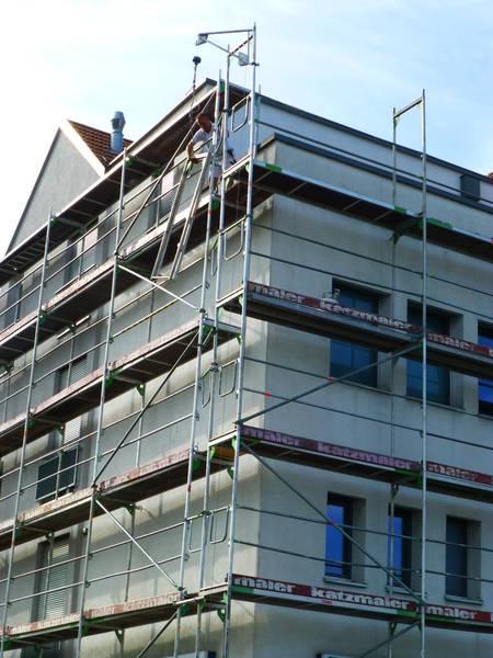 Gerüstbauarbeiten und Fassadenrenovierung, Volksbank Plochingen